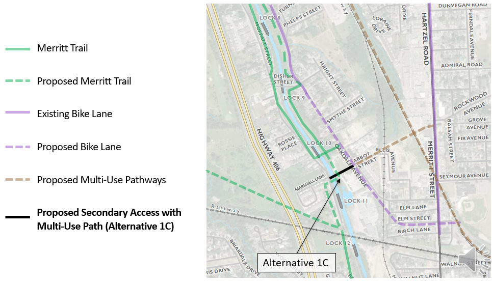 Map showing the existing and future active transportation network around the study area.